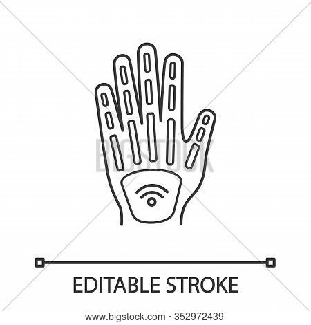 Human Microchip Implant In Hand Linear Icon. Thin Line Illustration. Nfc Implant. Implanted Rfid Tra
