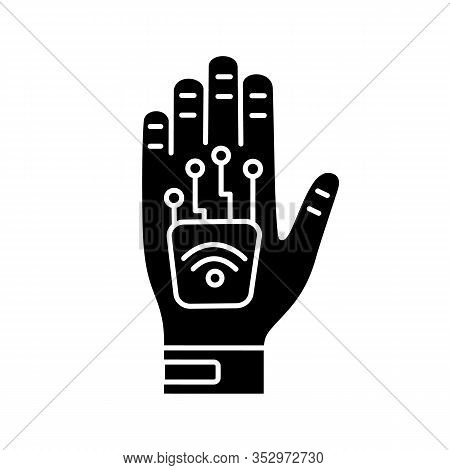 Human Microchip Implant In Hand Glyph Icon. Nfc Implant. Implanted Rfid Transponder. Silhouette Symb