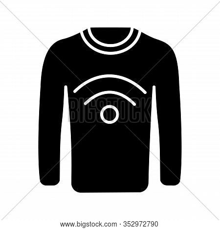 Nfc Clothes Glyph Icon. Near Field Communication Sweater. Silhouette Symbol. Rfid Tag. Contactless T