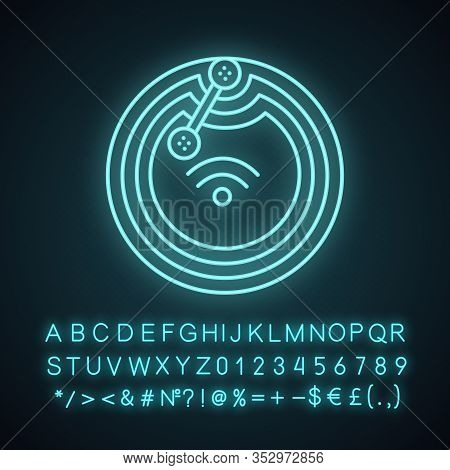 Nfc Microchip Neon Light Icon. Near Field Communication. Rfid Transponder. Nfc Tag. Contactless Tech