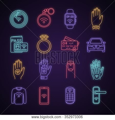 Nfc Technology Neon Light Icons Set. Near Field Communication. Rfid And Nfc Tag, Sticker, Phone, Tri