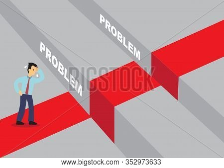 Businessman Afraid Of Overcoming The Problems Gaps. Concept On Overcoming Challenges And Limitation.