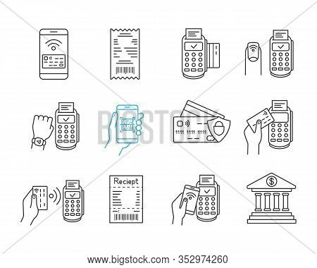 Nfc Payment Linear Icons Set. Electronic Money. Cashless And Contactless Payments. Digital Purchase.