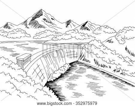 Dam Hydropower River Graphic Black White Landscape Sketch Illustration Vector