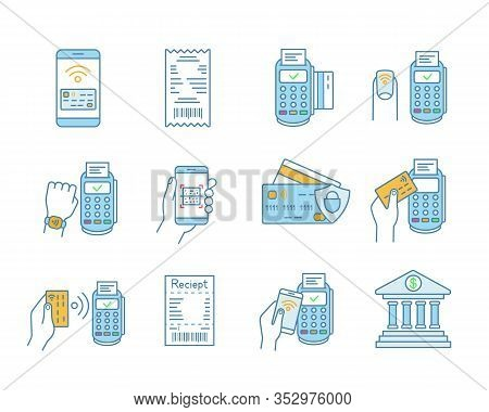 Nfc Payment Color Icons Set. Electronic Money. Cashless And Contactless Payments. Digital Purchase.