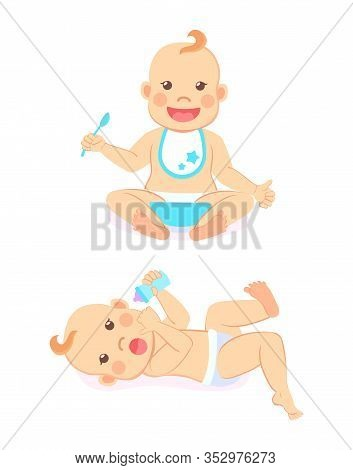 Newborn Baby Of Four Or Five Months Lying On Back With Bottle Of Milk And Infant Milestones From 6 T