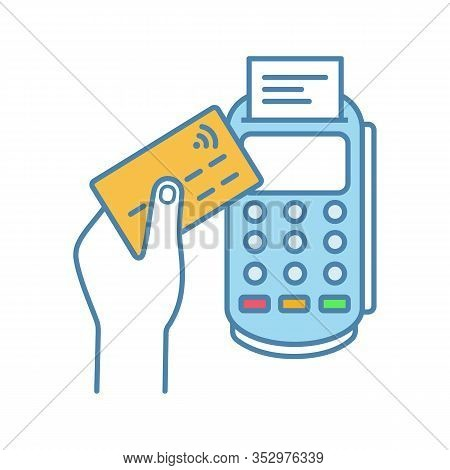 Payment Terminal Color Icon. Pos Terminal. Nfc Payment. Contactless Transaction. Near Field Communic