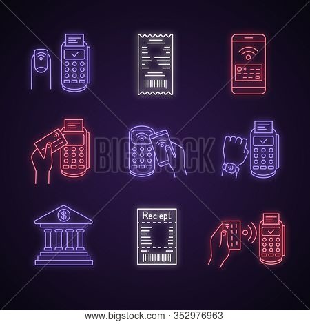 Nfc Payment Neon Light Icons Set. Cash Receipt, Pay With Smartwatch And Credit Card, Nfc Manicure, S