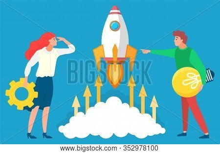 People Managers Looking At Rocket And Future. Business Tools For Innovations And Cooperation. Vector