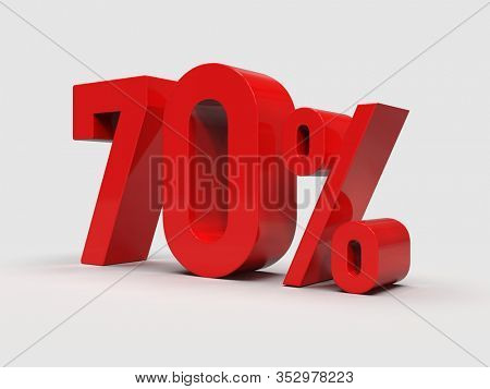 3d Render: 70% Off Discount Promotion Sale Sign Made of Realistic 3d Red Numbers