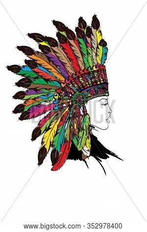 Young Girl In War Bonnet. Beautiful Lady In Native American Indian Hat..woman's Face.