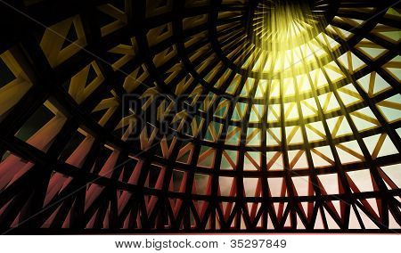 Straight Beam Of  Holy Light In Abstract Architectural Modern Dome