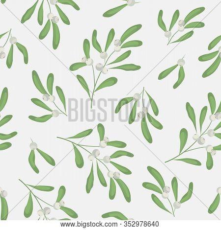 Vector Seamless Pattern With Mistletoe Twigs On White Background; White Mistletoe For Fabric, Wallpa