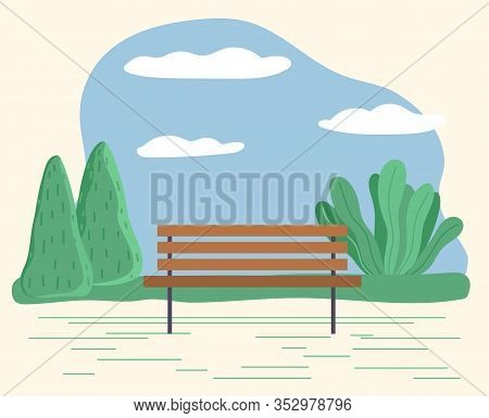 Public Park With Wooden Outdoors Furniture To Sit. Isolated Garden Or Forest With Trees And Bushes.