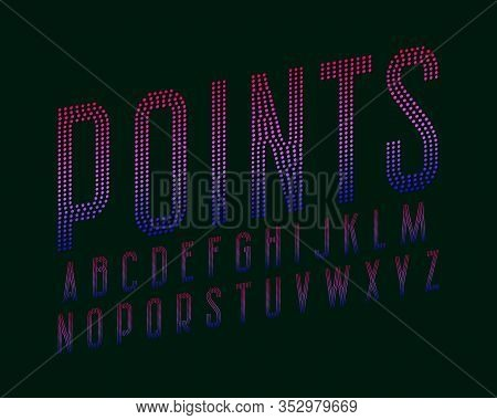 Points Alphabet. Blue Pink Gradient Dotty Font. Isolated English Alphabet.