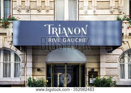 Paris/france - September 10, 2019 : The Trianon Rive Gauche Hotel Entrance In  Saint Germain Des Pre