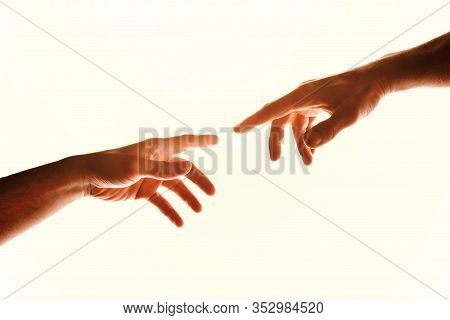 Two Hands With Fingers That Almost Touch. Representation Of The Christian Concept Of The Creation Of