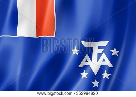 French Southern And Antarctic Lands Flag, Overseas Territories Of France. 3d Illustration