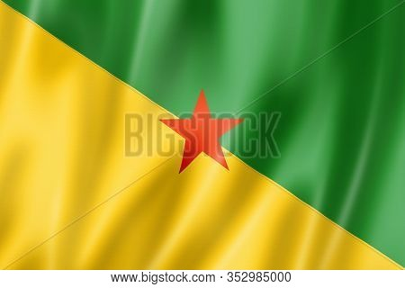 French Guiana Flag, Overseas Territories Of France. 3d Illustration