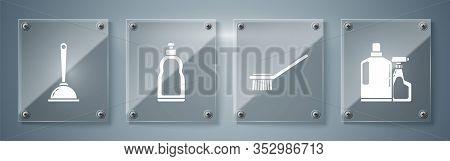 Set Plastic Bottles For Liquid Dishwashing Liquid, Toilet Brush , Plastic Bottles For Liquid Dishwas