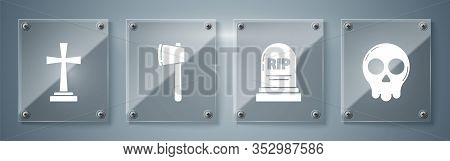Set Skull , Tombstone With Rip, Wooden Axe And Tombstone With Cross . Square Glass Panels. Vector