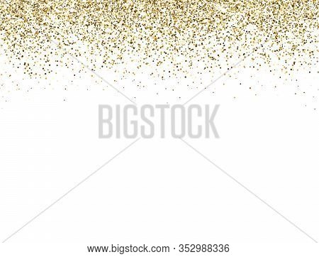Glitter Gold Border With Space For Text. Golden Sparkles And Dust On White Background. Luxury Glitte