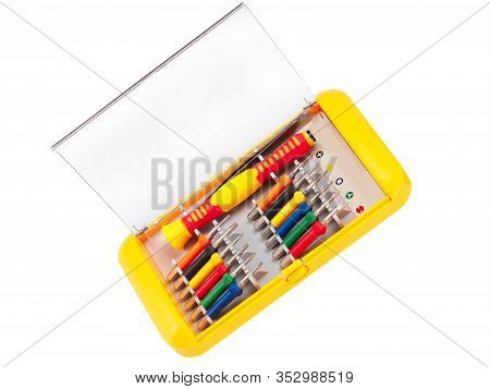 Set Of Screwdrivers Isolated On A White Background. A Set Of Small Screwdrivers. Work Tool. Screwdri
