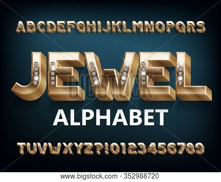 Jewel Alphabet Font. 3d Gold Metal Letters And Numbers With Diamonds. Stock Vector Typeset For Your