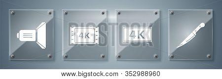 Set Knife , Screen Tv With 4k Ultra Hd Video Technology , 4k Movie, Tape, Frame And Movie Spotlight