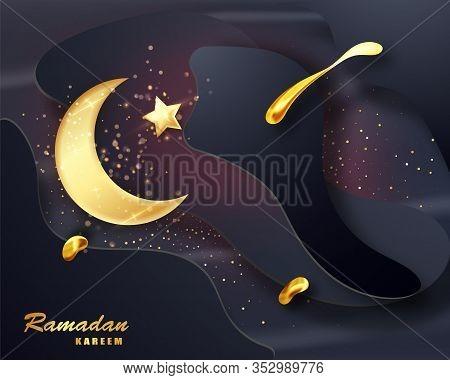 Ramadan Kareem Islamic Design Crescent Moon. Ramadan Holiday Banner