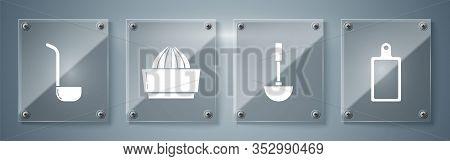 Set Cutting Board , Kitchen Ladle , Citrus Fruit Juicer And Kitchen Ladle . Square Glass Panels. Vec