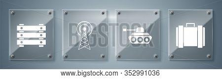 Set Military Ammunition Box, Military Tank , Radar And Military Ammunition Box. Square Glass Panels.