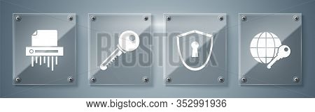 Set Globe Key , Shield With Keyhole , Key And Paper Shredder Confidential. Square Glass Panels. Vect
