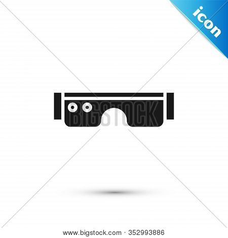 Grey Smart Glasses Mounted On Spectacles Icon Isolated On White Background. Wearable Electronics Sma