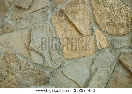 Mixed Stone Rock Wall Thick Sandy Grout