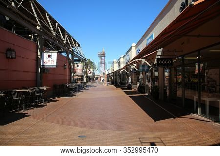 City of Commerce, California / USA - February 26, 2020: Citadel outlet mall featuring various stores and restaurants to cater to many different peoples taste and pleasures. Editorial Use Only.