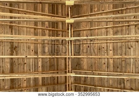 Barn Roof Rafters At A Horizontal View Up
