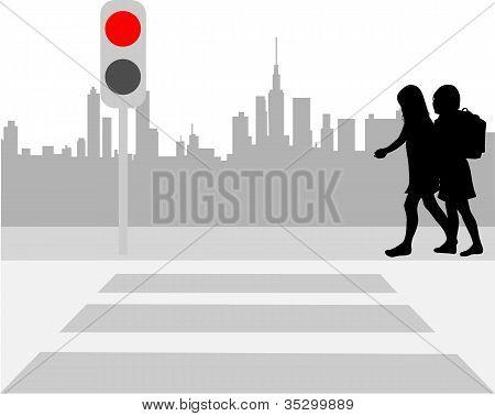 Pedestrian Crossing - Vector Illustration