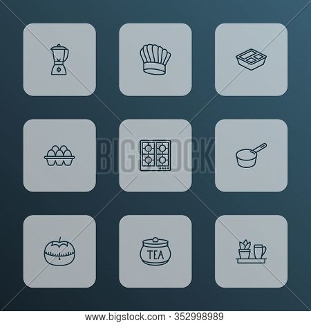 Culinary Icons Line Style Set With Tea Container, Blender, Kitchen Plant And Other Jar Elements. Iso