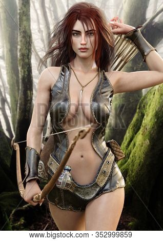 Seductive Fantasy Redhead Female Archer With Bow And Arrow Drawing Her Weapon As She Approaches The
