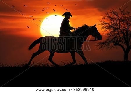 Cowboy And His Trusted Horse Riding Off Into The Sunset. 3d Rendering