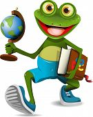 illustration of a frog student with a globe and a book poster
