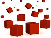 Abstract background - falling red boxes. Objects over white poster