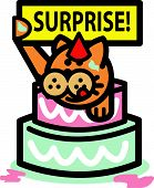 Cat Clip Art of Birthday Cake and Surprise Sign poster