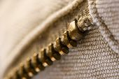 close-up shot of one part of a copper coloured pants zipper poster