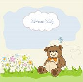baby shower card with cute teddy bear toy poster