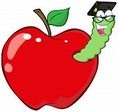 Happy Worm In Red Apple With Graduate Cap And Glasses poster