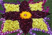Rose petals rangoli decoration Ikebana in beautiful colours poster