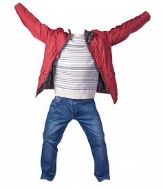 Red Jacket, White Blue Gray Sweater And Blue Jeans Isolated On White Background. Casual Fashion Clot