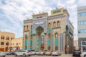 Dubai,uae - February 2,2020 - View At The Ali Ibn Abi Talib Mosque In Dubai. Dubai Is The Most Popul